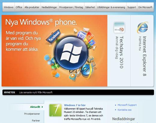 Microsoft hemsida del 1